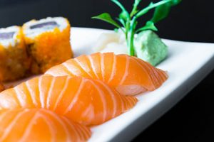 Salmon sushi japanese food