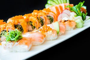 Salmon sushi roll - japanese food